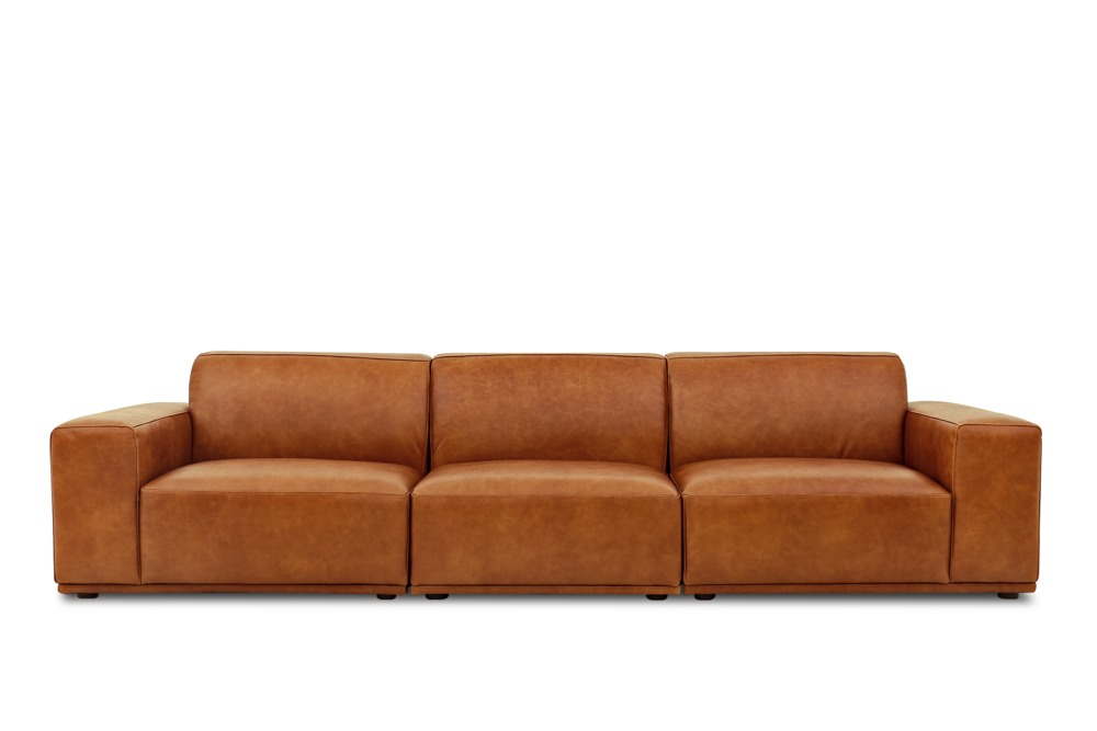 Todd Extended Sofa Leather Camel Castlery Australia