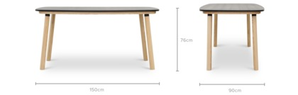 dimension of Strato Dining Table