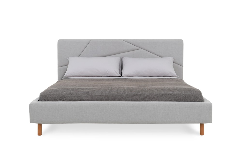 Aaron King Size Bed, Light Grey