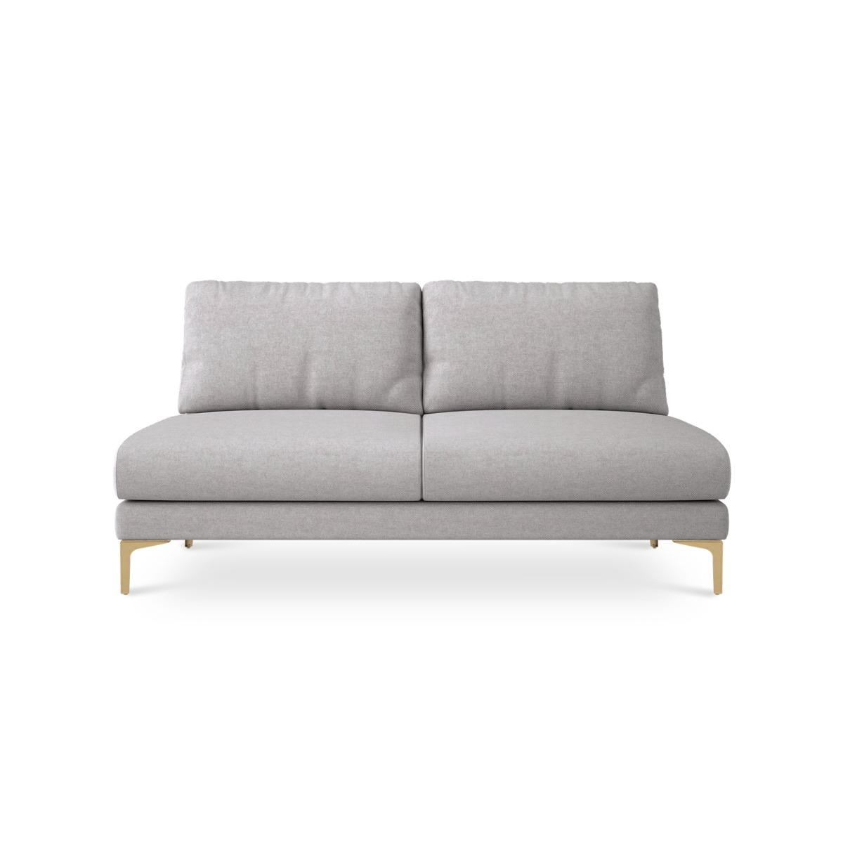 Adams Armless 2 Seater Sofa Customized, Parchment Beige (Brass Leg)