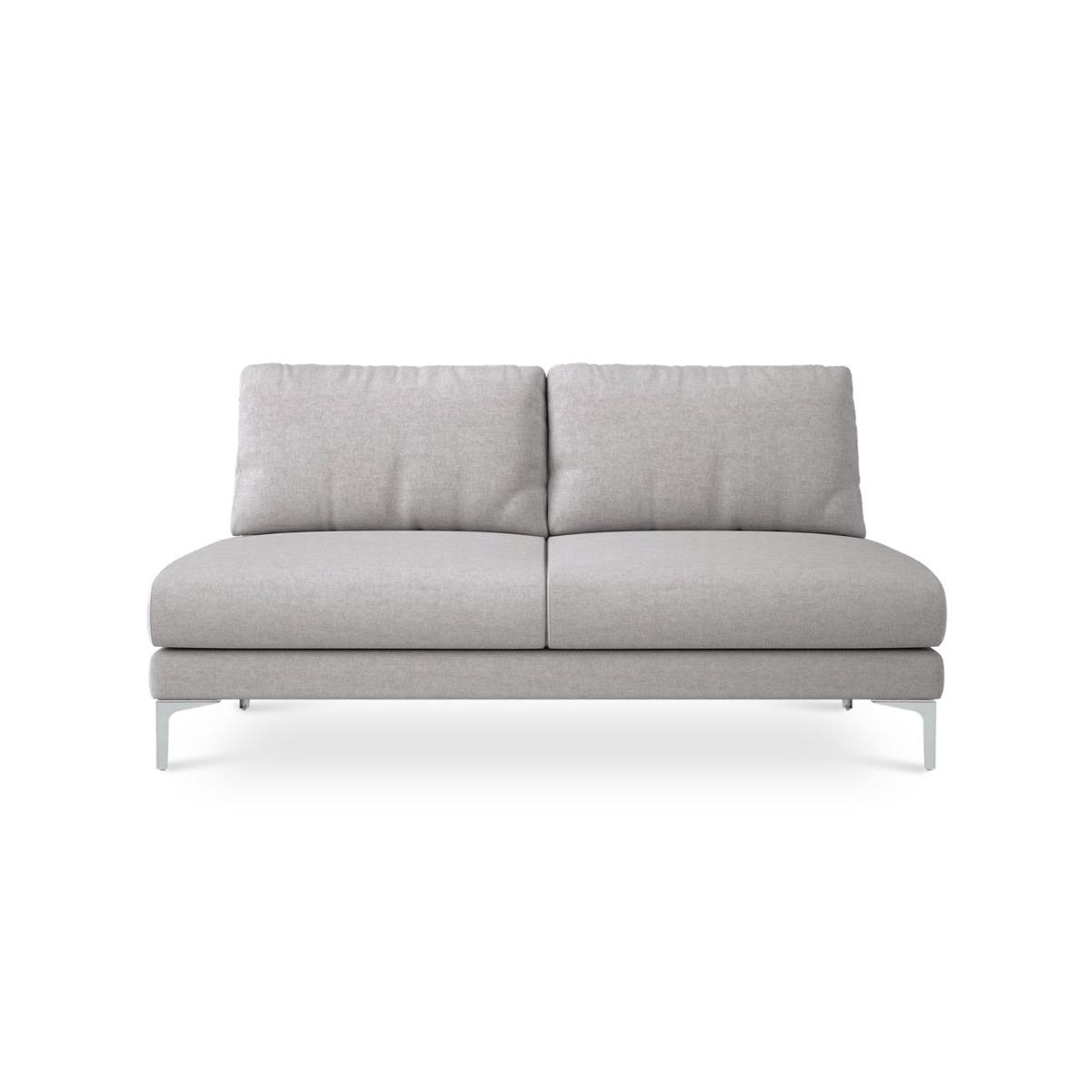 Adams Armless 2 Seater Sofa Customized, Parchment Beige (Silver Leg)