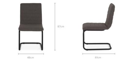 dimension of Duke Armless Chair, Dark Grey