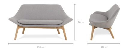 dimension of Gable 2 Seater Sofa
