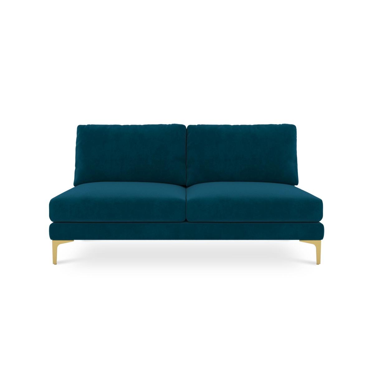 Adams Armless 2-Seater, Turquoise (Brass Leg)