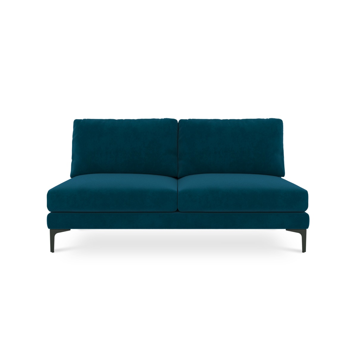 Adams Armless 2-Seater, Turquoise (Black Leg)