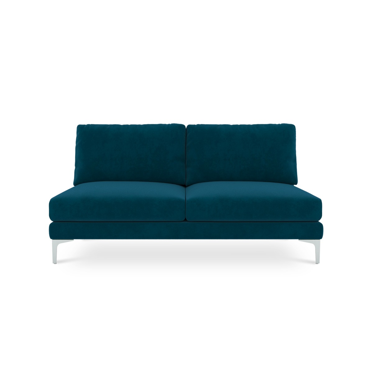 Adams Armless 2-Seater, Turquoise (Silver Leg)
