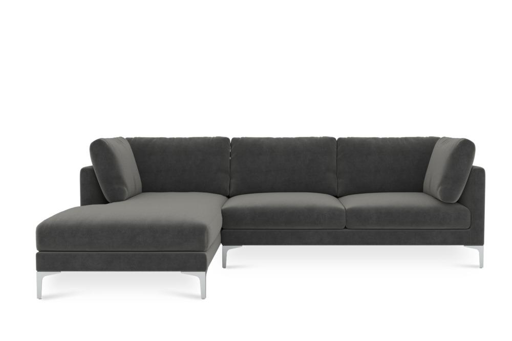 Adams Chaise Sectional Sofa Left Facing, Moon Grey (Silver Leg)